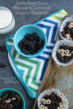 These Dark Chocolate Cinnamon Raisin Clusters are the perfect after-school snack that will keep your kids' sweet tooth at bay without loading up the junk! www.happyfoodhealthylife.com