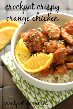 Make your own takeout!  This Crispy Orange Chicken is so light and tasty you will never miss all the calories! AND its' made in the SLOW COOKER to it couldn't be easier!!