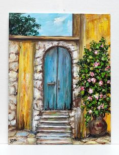 ******** Painting of Italy on 11 x 14 canvas panel_______original acrylic painting _______ European art _______ wall decor, unframed art _________ home decor ********** A painting of the unique architecture of Italy with all of its beautiful colors are depicted in this beautiful