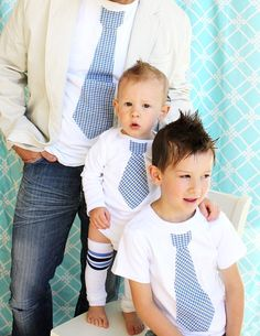 Dad, Big Brother, and Baby Boy Tie Shirts. Tshirt for Daddy and Big Brother, and Onesie for Baby.