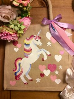 Jute Bags by Poppy and Buzz . Baby Painting, Fabric Painting, Personalised Jute Bags, Childrens Party Bags, Jute Tote Bags, Painted Bags, Unicorn Crafts, Fabric Bags, Kids Bags