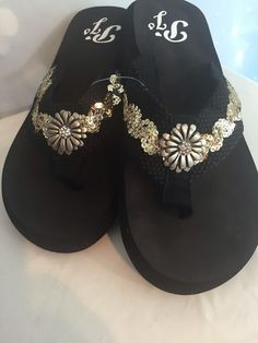 827db6d187b77a Silver With Silver Flower Bling Flip Flops sunset beach sandals comfortable  9  PJS  FlipFlops
