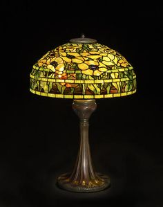 A Tiffany Studios Favrile glass and patinated bronze Oriental Poppy table lamp 1899-1918