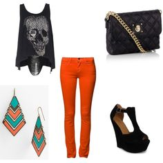 """Orange Skinny Jeans"" by kaitlan-smith on Polyvore"