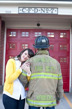 Firefighter engagement photo - cute :)