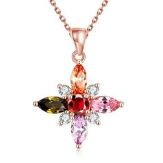 Rose Gold Plated Rainbow Crystals Necklace
