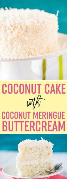 Coconut-Vanilla Bean Cake with Coconut Meringue Buttercream Frosting - A super moist coconut-packed layer cake and that frosting is a DREAM! via @browneyedbaker