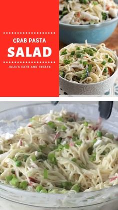 A super simple easy Crab Pasta Salad recipe loaded with crab meat, peas, broccoli, green pepper, and Crab Pasta Salad, Healthy Pasta Salad, Meat Salad, Soup And Salad, Seafood Pasta Salads, Healthy Salads, Seafood Appetizers, Seafood Dishes, Seafood Recipes