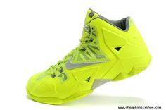 Fashion 616175-700 Fluorescence Green Silver Nike LeBron 11 For Wholesale
