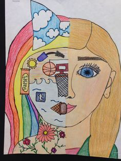 Kimberly McKinney Student expresses their emotions and interests through art. Self Portrait Kids, Student Self Portraits, Middle School Art Projects, 6th Grade Art, Ecole Art, Art Lessons Elementary, Art Lesson Plans, Art Classroom, Art Club