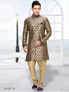 Sonstige Treu Blue Silk Salwar Kameez Sherwani With Collar And Chest Embelishment Size 42