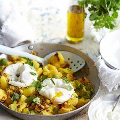 Aloo gobi with poached eggs