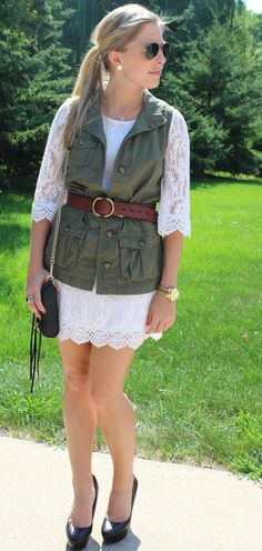 military-inspired vest, aviators, lace. With a LOT longer skirt!!!!