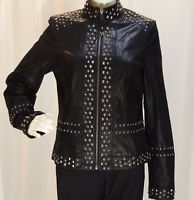 POWDER RIVER OUTFITTERS~NEW!~BLACK LEATHER-NICKEL TONED STUDS-ZIP UP JACKET-SZ:S