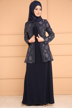 Laci Cardigan Evening Dress - Woman Jackets and Blazers Batik Fashion, Abaya Fashion, Muslim Fashion, Fashion Dresses, Dress Clothes For Women, Girls Dresses, Plus Size Evening Gown, Dress Pesta, Abaya Designs