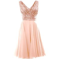 MACloth Women V Neck Sequin Chiffon Short Bridesmaid Dress Formal... ($99) ❤ liked on Polyvore featuring dresses, gowns, formal evening gowns, sequin evening gowns, formal ball gowns, chiffon gowns and bridesmaid dresses
