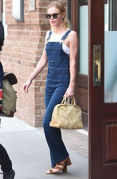 Kate Bosworth in Frame Denim Le High Flare Overalls and Matisse x Kate Bosworth sandals
