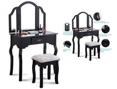 Makeup Vanity Table Set With Mirror And Stool Bedroom Dressing Table Desk Black #MakeupVanityTable