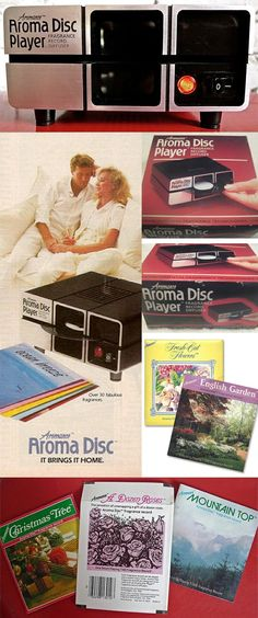 """In 1982, the perfume company Charles of the Ritz introduced the Aromance Aroma Disc Player. The Aroma Disc player did not play records, but small plastic discs injected with individually-themed scents, with such names as """"Passion"""", """"Ocean Breeze"""", """"A Dozen Roses"""", """"Holding Hands"""", """"After Dinner Mints"""", and even """"Movie Time"""", which smelled of buttered popcorn."""