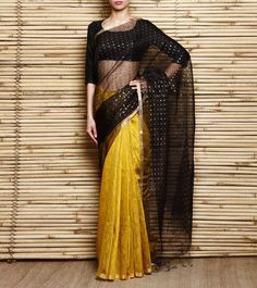 Mustard & Black Bengal Handloom Silk Saree