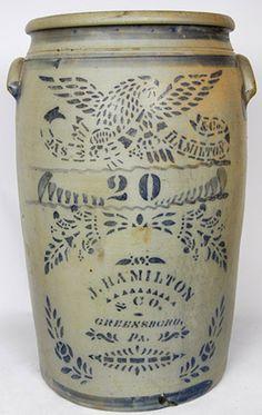 20-Gallon J. HAMILTON & CO. / GREENSBORO, PA Stoneware Crock