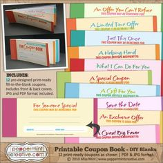 Diy coupon book printable gift ideas pinterest coupons etsy want your coupon book to look awesome and dont want to take the time to make it yourself check out peppermint creatives coupon book collectives solutioingenieria Image collections