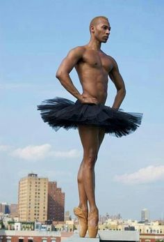 From the perfect authority of his stance, I am guessing this is a member of Les Ballets Trockadero de Monte Carlo, because so few male dancers have the strength and technical wherewithal to dance en pointe (see link). Anybody know more?  *maybe* Duane Gosa? Boysie Dikobe??