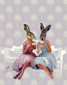 Rabbit Chat 14x11 inch Art Print Poster, Rabbit Picture £25.00
