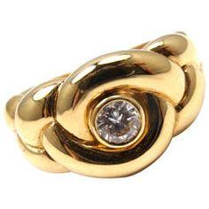 Van Cleef & Arpels VCA Diamond Braided Yellow Gold Ring