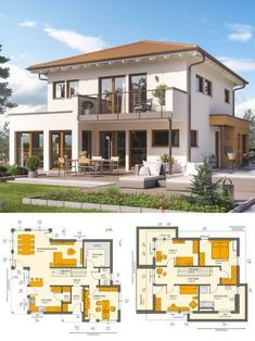 Townhouse New build Mediterranean in country house style with hipped roof Architecture & Gallery  Detached House Build Ideas Floor Plan Prefabricated House Sunshine 144 V6 Liv