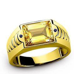 Mens 10K GOLD Ring CITRINE 3.40CTW with Sapphire Accents Genuine Gemstone Ring # onlineshopping # menstylefashion # mensringsonline #mensjewelry #mensfashion # jewelryonetsy #menswear # giftforbf # bestmensgifts # handmadering # mensaccessories