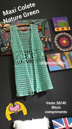 Canto do Pano Artesanato: Maxi Colete Nature Green Crochê com Gráfico