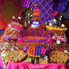 Pink and purple Arabian Nights birthday party! See more party ideas at CatchMyParty.com!