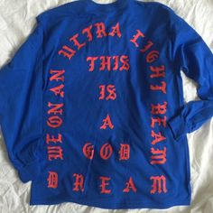 TLOP Authentic Merch - Ultra Light Beam Longsleeve Original Kanye West Merchandise. This was sold ONLY at The Madison Square Garden Yeezy Season 3 Merchandise store and then at the Pablo Pop Up Store in Soho this weekend. I purchased from Pablo, 100% authentic and I have the receipt. Very limited, after this weekend these are gone forever. Its a Longsleeve t shirt. Yeezy Tops Tees - Long Sleeve