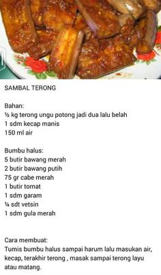 Terong d cabein Indonesian Cuisine, Indonesian Recipes, Sambal Recipe, Asian Recipes, Healthy Recipes, Low Calorie Dinners, Spicy Dishes, Malaysian Food, Asian Cooking
