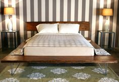 Furniture. Striped Bedroom Wall Idea And Cool Solid Wood Platform King Bed Frame With Hairpin Bases. Cool Bed Frames