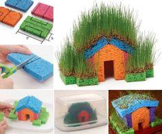 Maak met sponsen en wat graszaad dit ontzettend leuke huisje. Heel de natuur in huis! (of op huis?)