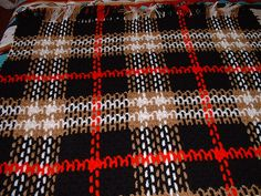 Burberry Plaid throw, free pattern by Faythe Saxton.  Alternate weaving of vertical chains. *Much* easier than it looks - pics make it self-explanatory. (Use HDC for mesh, Homespun for weaving)   . . . .   ღTrish W ~ http://www.pinterest.com/trishw/  . . . .   #crochet #afghan #blanket