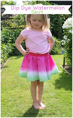 dip dye watermelon skirt tutorial by little button diaries