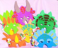 Set of 6 colorful foam dinosaur masks. Fun for kids to play their favorite pre-historic beast. Each mask is different colors and shapes. Temporarily SOLD OUT until August 1. Reserve your today! 6 sets