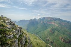 "My guidebook told me that it was impossible for a photograph to really show the scale of the Blyde River Canyon in Mpumalanga, South Africa. They were right, but this picture tells some of the story at least. One of the largest canyons on earth and easily reachable from Johannesburg, it features many viewpoints along the so-called Panorama Route. This is probably the best - looking towards the rock formation known as the ""Three Rondavels"" because of its similarity to traditional African… African House, Rock Formations, Guide Book, The Rock, South Africa, How To Look Better, Scale, At Least, Photograph"