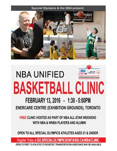 Special Olympics has had a fantastic relationship with the NBA for a number of years. With the NBA All-Star game being held in Toronto this year, they have invited us to participate in a collaborative event! What: FREE NBA Unified basketball clinic hosted by NBA & WNBA stars Who: Special Olympics athletes aged 13-21 are invited to participate  Where to register: http://forms.specialolympicsontario.com/view.php?id=152579