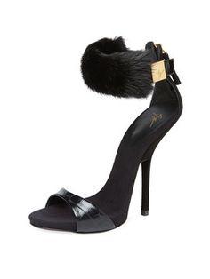 Alien Suede & Mink Ankle Wrap Sandal from Giuseppe Zanotti on Gilt