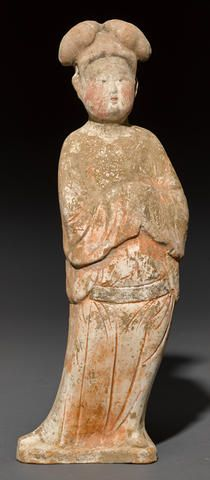 A painted pottery figure of a fat lady Tang dynasty