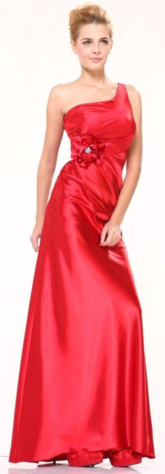 Plus Size Red Long Bridesmaid Dress Satin Rosette One Shoulder Strap  $99.99