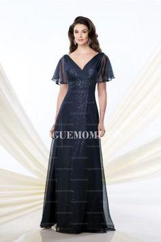 Sheath/Column V-neck Floor-length Chiffon Sequined Mother of the Bride Dress
