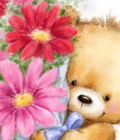 Cute bear holding a bunch of flowers for Mother's Day. Cards are shipped the Next Business Day. Mother Day Wishes, Happy Mothers Day, Cute Images, Cute Pictures, Teddy Bear Pictures, Beautiful Flowers Pictures, Bear Wallpaper, Tatty Teddy, Cute Teddy Bears
