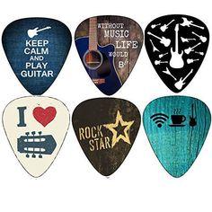 Cool Guitar Picks Guitar Accessories Assorted Light Medium Heavy Gauge - for Acoustic, Electric and Bass Guitars Bass Guitar Lessons, Guitar Lessons For Beginners, Guitar Tips, Ukulele, Guitar Chords, Guitar Songs, Guitar Quotes, Guitar Room, Violin Music