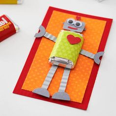 DIY: cute robo candy card, for valentines, thank you note, get well soon card, thinking of you card, or Robot themed party invitation. The cutest