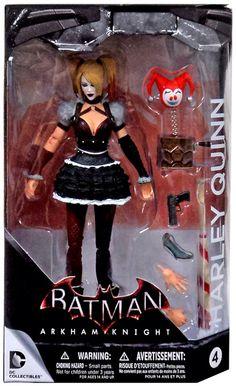BATMAN ARKHAM KNIGHT: Harley Quinn Figure. The figure concludes; A Jack-in-a-box bomb (Harley Quinn's version of Batman's explosive spray), a gun, a taser, two hands, and a baseball bat (Harley Quinn's main Weapon of choice)